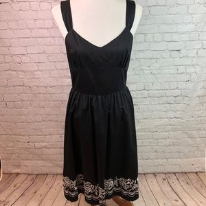LOFT Black Embroidered Overall Dress Size 6